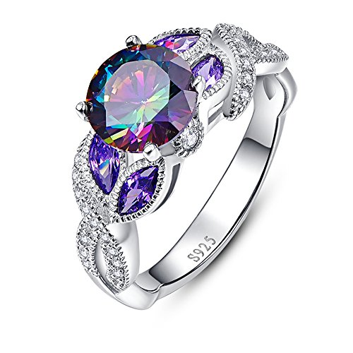 Bonlavie 3.6ct Rainbow Topaz Blue Sapphire Promise Wedding Band Engagement Ring 925 Sterling Silver (T 1/2)