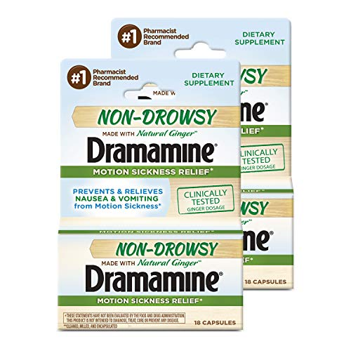Dramamine Non-Drowsy Naturals Motion Sickness Relief | 18 Count | 2 Pack