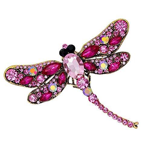 Wicemoon Broches de libélula Lindos Diamantes de imitación Crystal Corsage Pins Animal Broche Regalo Joyería de Moda para Mujeres y Hombres