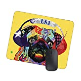 Cute Lovely Pug Dog Listening Music with Headphones Urban Life Funny Artistic Cool Image,Non-Slip Rubber Mouse Pad Mat Texas Flag, USA