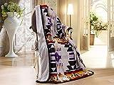 Linen Mart Southwest Aztec Sherpa Borrego Fleece Throw Blanket 50'x 60' - 10 Colors