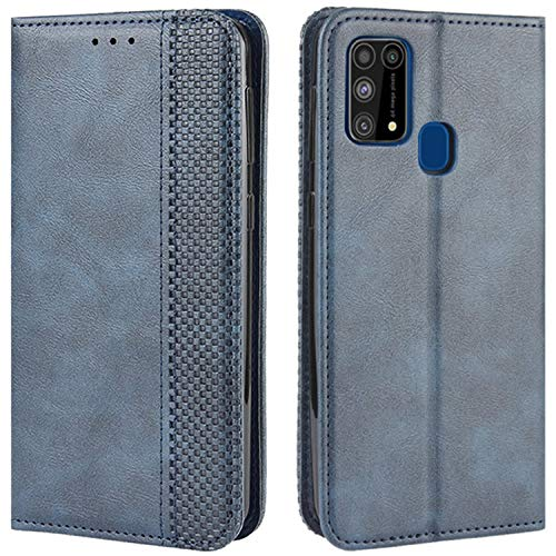 HualuBro Handyhülle für Samsung Galaxy M31 Hülle, Retro Leder Stoßfest Klapphülle Schutzhülle Handytasche LederHülle Flip Hülle Cover für Samsung Galaxy M31 Tasche, Blau