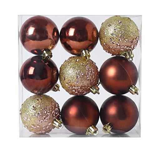 tellaLuna 9 adornos de bolas de Navidad, decoración de árbol de Navidad, bolas colgantes para el hogar, Año Nuevo, decoración de fiestas, 6 cm, color marrón