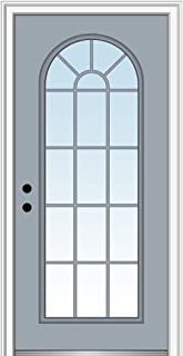 National Door Company ZZ13543R Fiberglass Smooth, Painted, Right Hand Inswing, Exterior Prehung Door, Full Lite Round Top, Clear Glass, 32