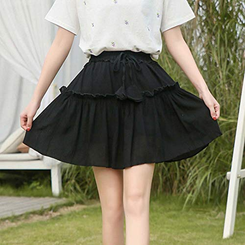 YYH Dames-rok plooirok zomer-chiffon - midi-rok klokkenrok A-Line Plus Size Mini Skaterjurk zwart