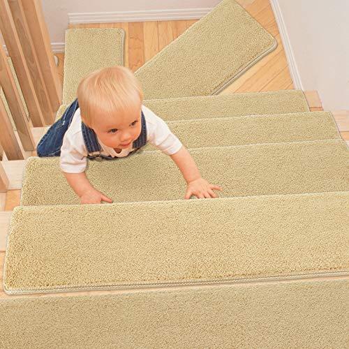 PURE ERA Bullnose Teppich-Stufenmatten, rutschfest, selbstklebend, ultraweich, Haustierfreundlich, rutschfest, waschbar, wiederverwendbar, Khaki, 24,1 x 76,2 x 3 cm