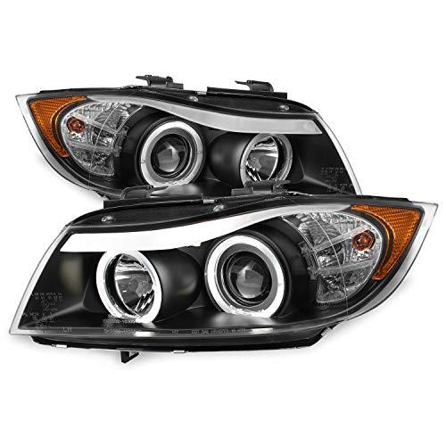 For 06-08 BMW E90 3-Series 4 Doors Sedan Black Bezel Halogen Type [LED Halo] Ring Eye Lid Projector Headlights