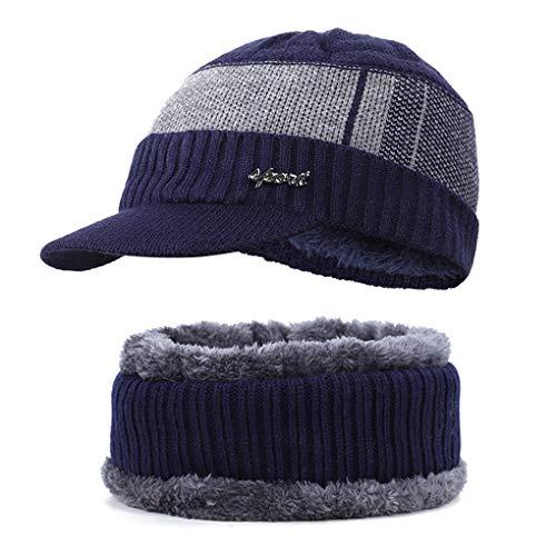 Forbestest 2ST / Set Winter Herbst Warm Strickschal Baseball-Mütze Thick Männer im Freien Spielraum Schal Ski Cap Kit