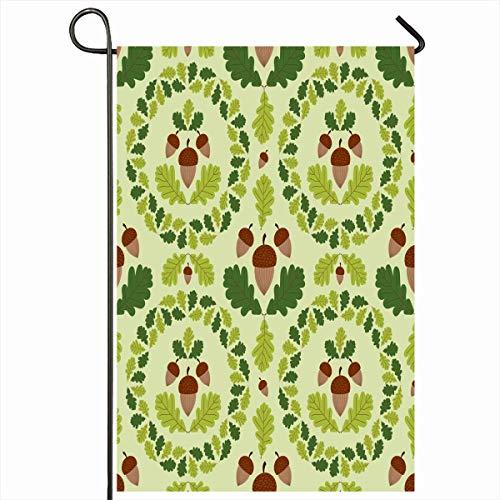 Banderas de jardín al aire libre Guirnalda de otoño de 12.5 'x 18' Pulgada Patrón de bosque verde Bellotas Roble Niño Naturaleza Otoño Frontera del bebé Diseño botánico Vertical Casa de doble