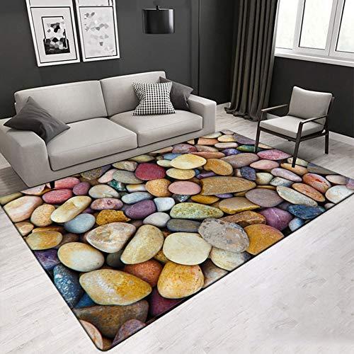 Floormatjing Tapijt met modern design, woonkamer, afbeelding tapijt met stenen tafel met kleurrijk patroon, mix van meerkleurige kleuren