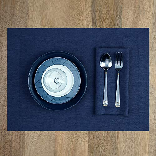 D'Moksha Homes 100% Pure Linen Bella Placemats - Midnight Navy Blue Set of 4, 14 x 19 Inch Placemats, European Flax Natural Fabric Machine Washable Handmade with Mitered Corners, Great Gift Choice