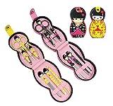 Hillent adorables muñeca patrón acero inoxidable manicura personal pedicura conjunto con funda de cuero profesional, kit de aseo de viaje, conjunto de 12, muñeca japonesa