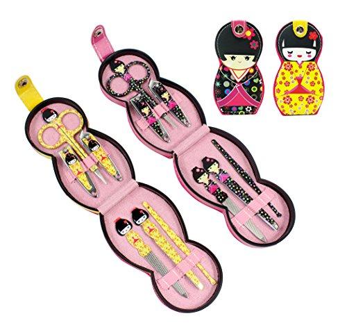 Hillento adorabile modello di bambola in acciaio inox personal manicure pedicure set con custodia in pelle professionale, kit da toilette da viaggio, set di 12, bambola giapponese