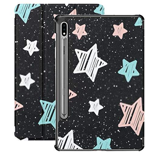 Funda Samsung Galaxy S7 Plus con Soporte para bolígrafo S Pastel Star sobre Fondo Negro sin Costuras Funda de Piel sintética para Samsung Galaxy Tab S7 Plus 12,4 Pulgadas 2020, Funda Samsung Galaxy T