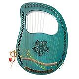 lyakin in mogano a 16 corde, arpa, lira, strumento a corde portatile, adatto per il tempo libero e l'intrattenimento, regalo musicale per bambini, principianti, amanti della musica