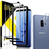 BAZO 2 Pack Tempered Glass Screen Protector for Samsung galaxy S9 Plus + 2 Pack Camera Lens Protector - 3D Full Coverage - edge to edge - Anti-Scratch - HD Clear - 9H Hardness - Case Friendly