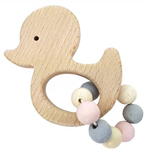 Hess 11111 - Holzspielzeug, Greifrassel Ente aus Holz, nature rosa
