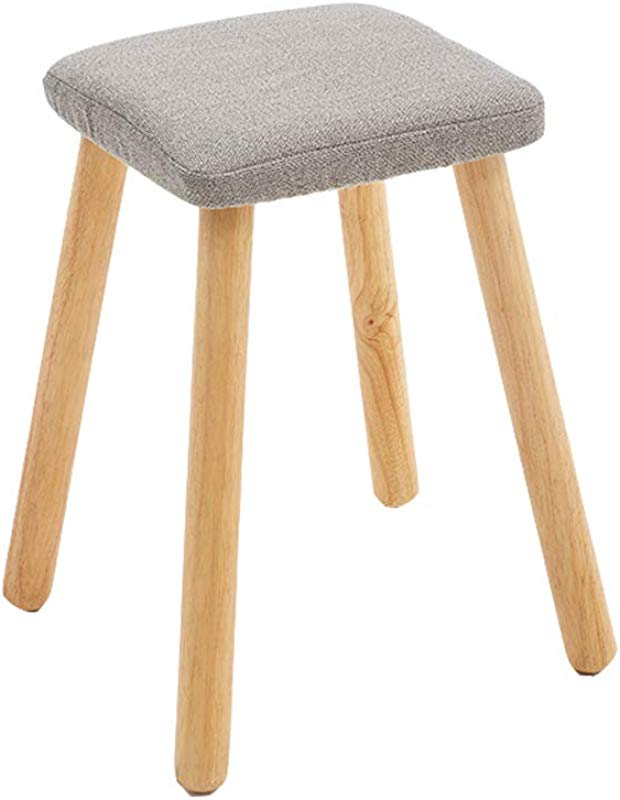 Children S Solid Wood Stool Creative Fashion Detachable Seat Cover Design Thick Solid Wood Leg Stool For Kindergarten Home Bedroom 28 2843cm Color Gray