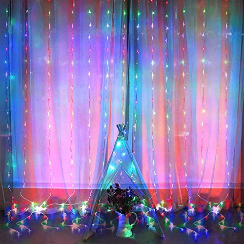 Curtain Lights, 8 Modes Fairy Lights String with Remote Controller, IP64 Waterproof, USB Plug in Twinkle Lights for Weddings, Parties, Backdrop, Wall Decorations, 300 Led? 9.8x9.8Ft, Multicolor?