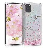 kwmobile Hülle kompatibel mit Samsung Galaxy A21s - Hülle Handy - Handyhülle - Kirschblütenblätter Rosa Dunkelbraun Transparent