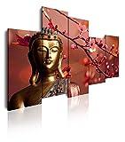 Dekoarte 113 - Cuadro moderno en lienzo de 5 piezas,  estilo zen-feng shui buda dorado con rama...