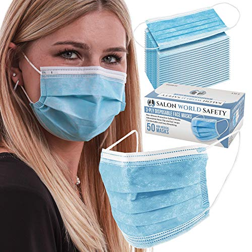 TCP Global Salon World Safety - Sealed Dispenser Box of 50 Face Masks Breathable Disposable 3-Ply Protective PPE with Nose Clip and Ear Loops