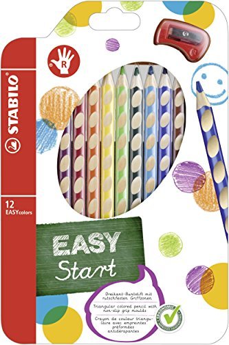 STABILO EASYcolors Colouring Pencils for Right-Handers Comfortable Grip with Sharpener - Assorted Colours (Wallet of 12)