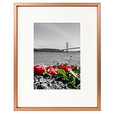 Frametory 8x10 Table-Top Metal Picture Frame Collection, Aluminum Photo Frame with Ivory Color Mat for 5x7 Picture & Real Glass (Rose Gold)