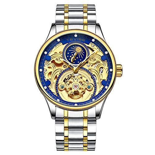 ZBHWYD Relojes mecánicos, Relojes automáticos, Relojes mecánicos de Acero Inoxidable automático para Hombres, Correas con Correas de Acero Son cómodos de Usar (Hombres y Mujeres),Gold Blue