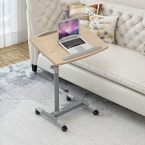 CHOUE Eisen Pc Stehtisch mit Graues PVC-Panel,Höhenverstellbar, Abschließbare Rollen, Faltbar,Form Desk Laptop für Schlafsofa Home Office Möbel