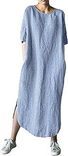 Shallood Estivi Donna Taglie Forti Estate Vestiti Casual Eleganti Corti Manica Corta V-Collo Cotone E Lino T-Shirt Lunga M...