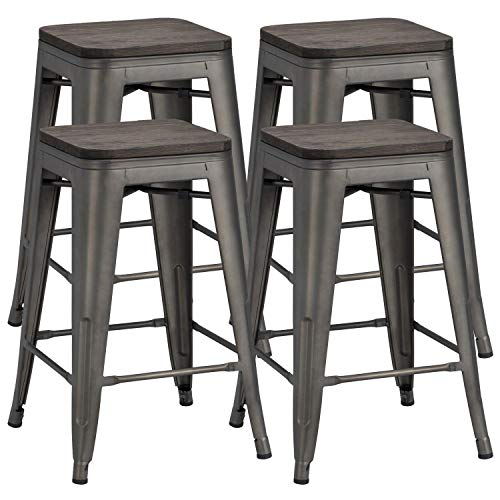 YAHEETECH 24inch Metal Bar Stools Counter Height Barstools High Backless Industrial Stackable Metal Chairs with Wood Seat/Top Indoor/Outdoor Set of 4, Gun Metal
