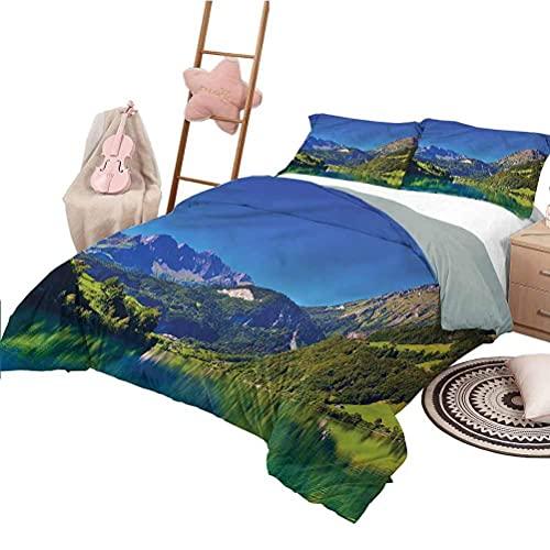 3D Imprimé Parure De Lit Literie à Paysage Alpes suisses Prairie Taille (200x200 cm) Ensemble 3 pièces 1 Housse de Couette + 2 taies d'oreiller Assorties