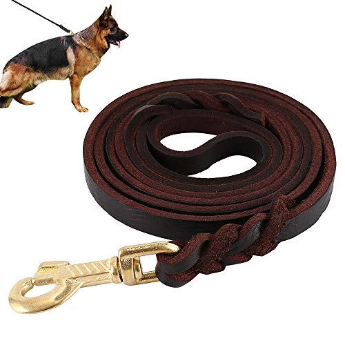 Guinzaglio per cane intrecciato in vera pelle, corda da 3 metri, lunghezza 3 m, per addestramento del cane medio o grande corsa a piedi