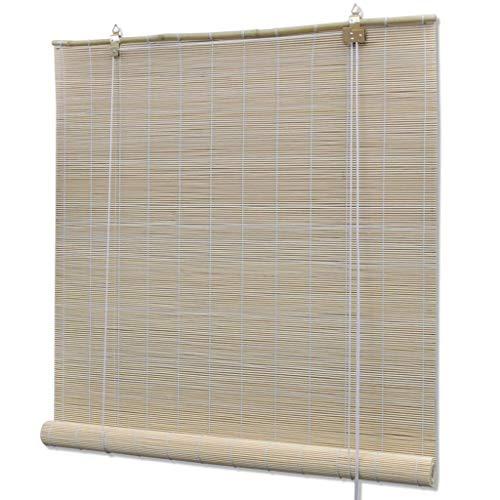 UnfadeMemory Persiana Enrollable de Bambú,Persiana Veneciana,Cortina Enrollable,Protección de Privacidad,Decoración de Habitación (80x220cm, Natural)