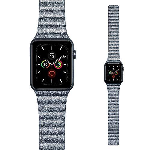 LKEITY Bracelet magnétique en cuir pour montre Apple 44 mm 42 mm avec boucle en cuir, bracelet en cuir solide pour iWatch Série 5/4/3/2/1 Femme Homme (couleur gris brillant)