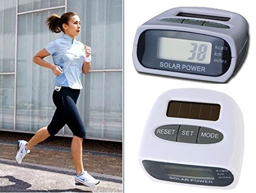 Skywalk Solar Power Calorie Consumption Run Step Pedometer Distance Counter with LCD Screen (White)
