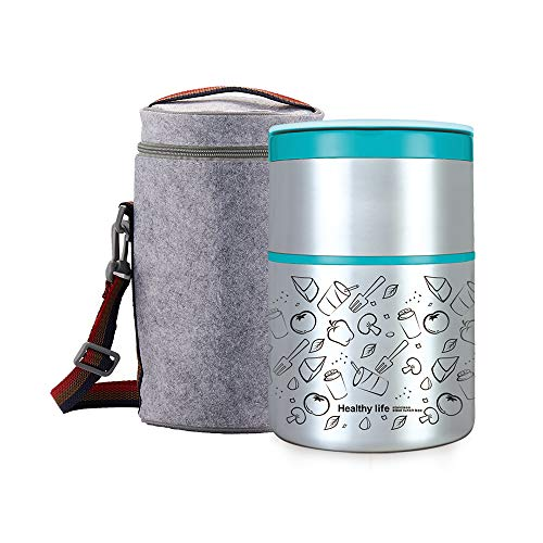 Lille Home Vacuum Insulated Stackable Stainless Steel Thermal Lunch/Snack box, 2-Tier Bento/Food Container with Lunch bag, Smart Diet, Weight Control, 32 Ounces, Blue
