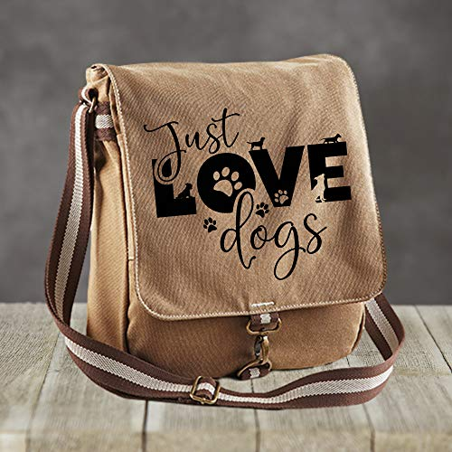 Canvas Messenger Just Love Dogs