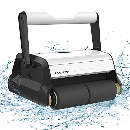 PAXCESS Robotic Pool Cleaner with Wall-Climbing Function,Dual 180um Large Filter Basket,Tangle-Free...