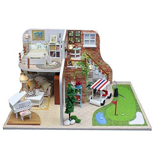Puppenhaus DIY Golfplatz Swimmingpool Villa Puppenhäuser Miniaturmöbel Zimmer Box Spielzeug für Kinder Weihnachten Geburtstag Neujahr Geschenke WANGHN (Color : -)