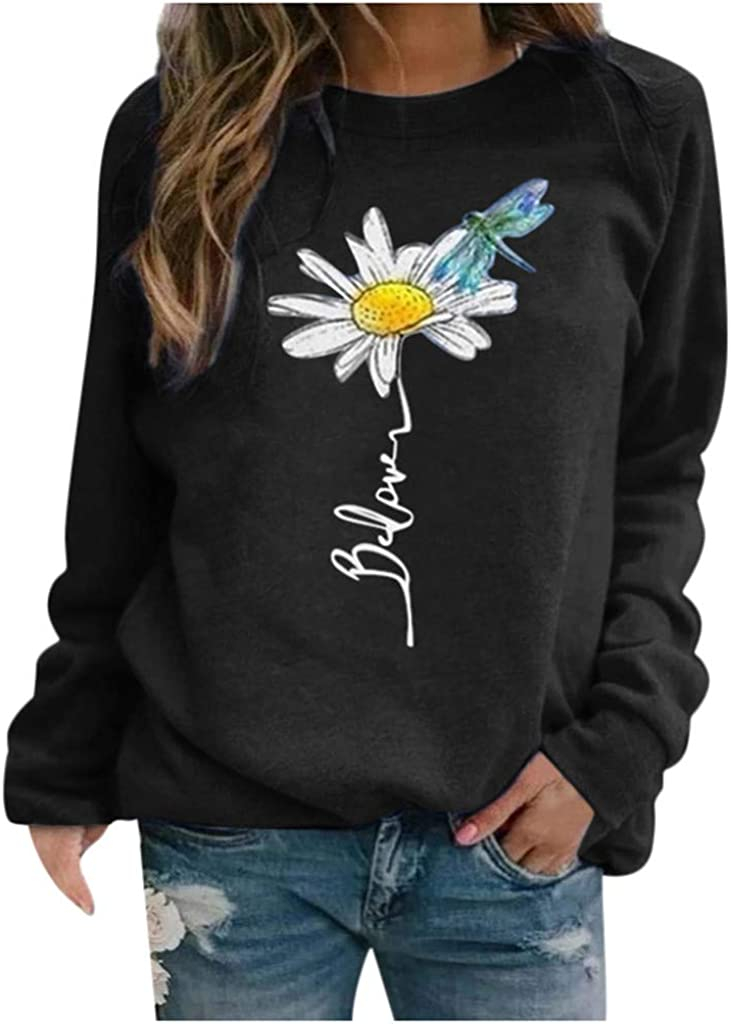Womens Long Sleeve Tops,Women Casual Floral Print Pullover Tops Long Sleeve Plus Size Shirts Sweaters Tops Shirts