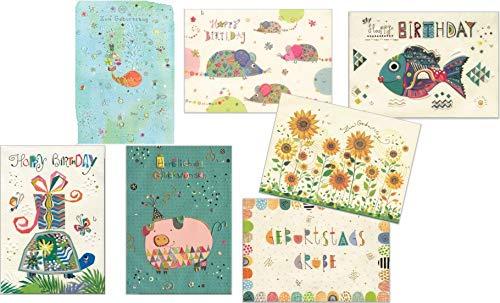 Set aus sieben Glückwunschkarten zum Geburtstag - hochwertige Geburtstagskarten von Turnowsky - 7 Karten mit Umschlag