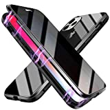 Anti-peep Magnetic Case for iPhone 7/8/Iphone SE 2020,Anti Peeping Magnetic Double-Sided Privacy Clear Back Metal Bumper Antipeep Anti-Spy Phone Cases Cover for iPhone 7/8/SE 2-Black