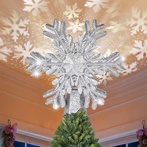 Decoración para árbol de Navidad con proyector de copo de nieve, estrella con purpurina para día festivo, fantástica lámpara de...