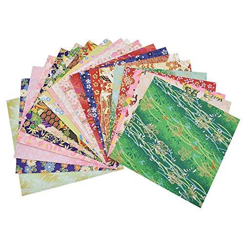 Guddawstraatyi Origami Paper Patrón al Azar 20 Hojas de Papel de Origami Floral de la Flor Álbum de Recortes Hecho a Mano Plegable Arte de Papel Decorativas Origami Sheets