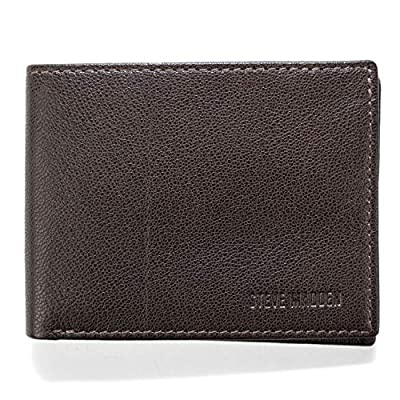 Steve Madden Leather RFID Wallet Extra Capacity Attached Flip Pocket, Brown (Smooth Grain)