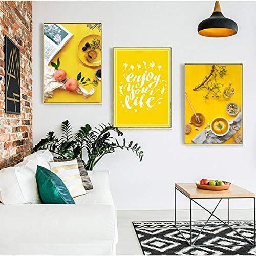 Modern Home Decor Canvas Schilderij Levend Voedsel Fruit Nordic Pictures Muurkunst Prints Aquarel Modulaire Poster voor Woonkamer 50X90Cmx3 Stks Geen Frame