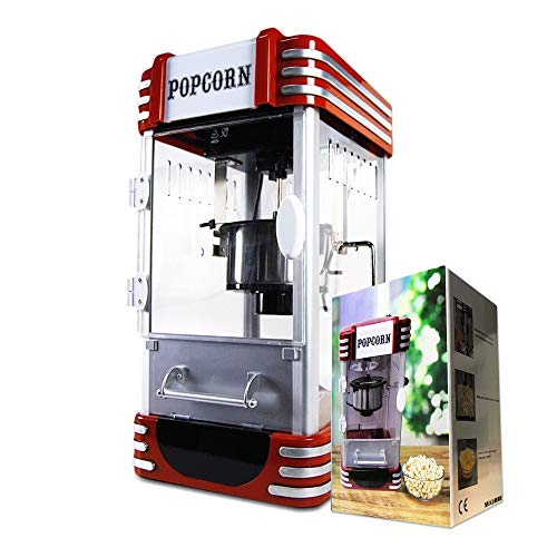 mikamax - Popcornmaschine – Deluxe - Popcorn maker – Retro Cart - Popcorn Selber Machen - Gewicht 5,9 kg - Maße Verpackung: 36 x 32,5 x 60 cm