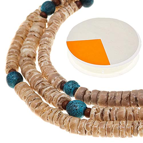 Fun-Weevz Natural Round Disc Puka Shells for Jewelry Making Adults, 27 Inch Thin Heishi Seashells Strands with 10 Yards Stretch Cord, Flat Shell Beads for Bracelets, Necklaces, Chokers and Anklets